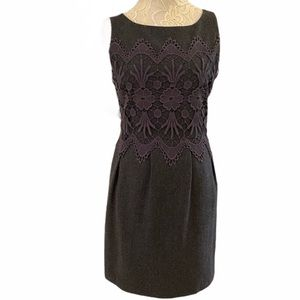 Darling Grey Wool Sheath Dress with Lace Bodice